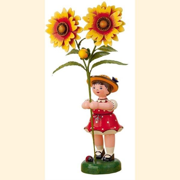 307h2021 Hubrig Volkskunst Blumenmädchen mit Malve blau Erzgebirge